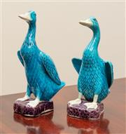 Sale 9058H - Lot 3 - A pair of Majolica Geese in teal and aubergine, Height 17cm