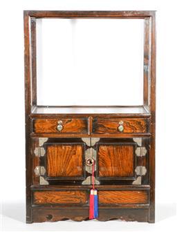 Sale 9093P - Lot 17 - Small Korean Elm Display Cabinet with Raised Shelf