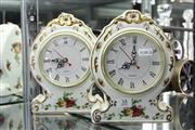 Sale 8322 - Lot 38 - Royal Albert Old Country Roses Pair of Clocks