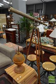 Sale 8480 - Lot 1189 - Brass Telescope on Timber Tripod