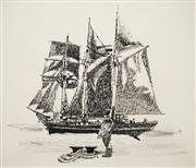 Sale 8619 - Lot 2042 - Frank Beck (1906 - 1986) - Tall Ship and Sailor 34 x 40cm