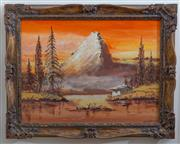 Sale 8414A - Lot 23 - Gerard - Mountainous Lake Scene 44 x 59cm