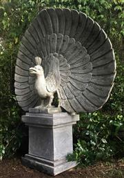 Sale 8772A - Lot 47 - A Large Impressive Carved Stone Fine Detail Peacock Statue On Stand Peacock Carved From Single Piece Of Greenstone, Consists Of 2 Pa...