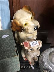 Sale 8806 - Lot 82 - A Carnival Composite Dog Figure Together with Another ( Some Wear Apparent)