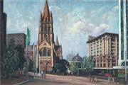 Sale 8847 - Lot 561 - Rodney Symmons (1937 - ) - View of St Pauls Cathedral, Melbourne 60 x 90cm