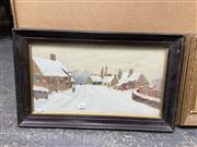 Sale 9072 - Lot 2094 - P. Mayne Irish Street Scene in Winter, 1911, oil on board, frame: 35 x 56 cm, signed lower right