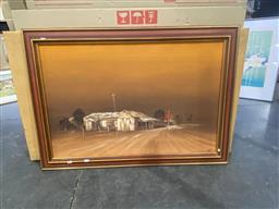 Sale 9147 - Lot 2074A - Peter Lawson Desert Town, oil on board, frame: 72 x 105 cm, signed lower right -
