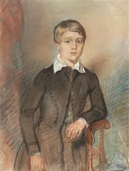 Sale 9212A - Lot 5061 - ARTIST UNKNOWN Portrait of Young Boy, c1890 pastel 41 x 31 cm (frame: 50 x 40 x 3 cm) signed lower left