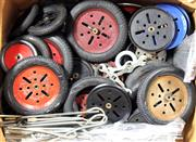 Sale 8376 - Lot 34 - Assorted Vintage Meccano Wheels, Tyres, Axels and Spanners, plus fan and steering wheels.