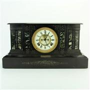 Sale 8387 - Lot 4 - Ansonia Black Slate Mantle Clock