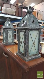 Sale 8404 - Lot 1083 - Pair of Lantern Style Candle Holders