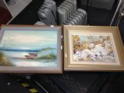 Sale 8663 - Lot 2077 - 4 Artworks: H. Gailey - Beach Scene; M. Malone - Tumut; T. Siviz - Golden Autumn; Artist Unknown - Landscape