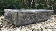Sale 8772A - Lot 48 - A Large Oversized Carved Stone Dragon With Guardian Lion Ends, Pond Water Trough  /  Planter General Wear Size: 104cm L x 50cm W x 2...