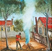 Sale 8881 - Lot 538 - Kevin Charles (Pro) Hart (1928 - 2006) - Burning the Rubbish 18.5 x 18.5 cm