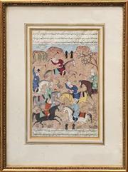 Sale 8906 - Lot 2028 - Indo-Persian School - Polo Match gouache, 34.5 x 26cm (frame)