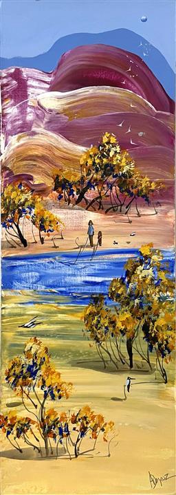 Sale 9103 - Lot 2007A - Adam Bogusz Gentle waters oil on board 42 x 15cm, signed -