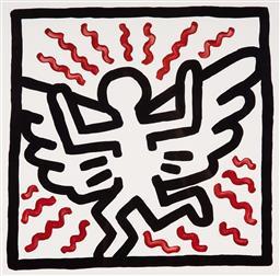Sale 9154JM - Lot 5015 - KEITH HARING (1958 - 1990) Untitled (Mothman) decorative print after original 37 x 36 cm (frame: 66 x 66 x 3 cm) gallery frame