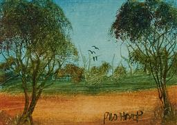 Sale 9161 - Lot 593 - KEVIN CHARLES (PRO) HART (1928 - 2006) Bush Landscape oil on board 9.5 x 13 cm (frame: 25 x 30 x 2 cm) signed lower right