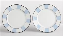 Sale 9255H - Lot 91 - A pair of Bernardaud blue and white entree plates, Diameter 26.5cm.