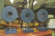 Sale 8371 - Lot 1081 - Set of 3 Composite Decorative Rings on Marble Base Stands