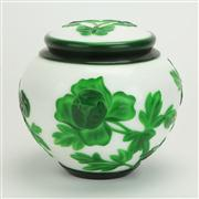 Sale 8393B - Lot 13 - Peking Glass Lidded Bowl with Green Overlay