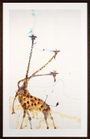 Sale 8630A - Lot 35 - John Olsen (1928 - ) - Giraffes at Mount Kenya 84 x 51cm, framed size 98 x 64cm