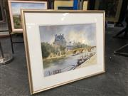 Sale 8753 - Lot 2081 - Beverley Symonds - Autumn on the Seine watercolour, signed lower right