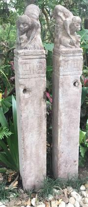 Sale 8772A - Lot 49 - A Carved Stone Mu Zi Hou  Horse Hitching Post Each Carved From Single Pieces Of Stone General Wear , Some Chipping Size: 118cm H x...