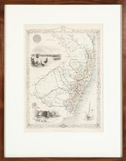 Sale 9023H - Lot 32 - After J Hapkin, a  Map of NSW illustrated by Warren and Engraved by Rogers.. Published by J Tallis and co. NY/London, 36cm x 26cm