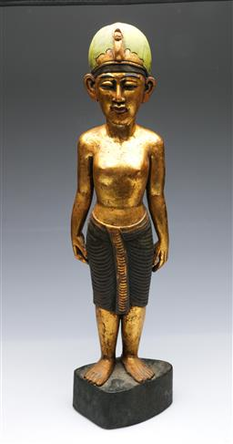 Sale 9093P - Lot 45 - Carved and Gilded Egyptian Figure of a Noble