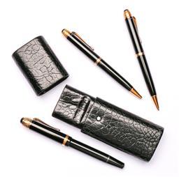 Sale 9122 - Lot 34 - Mont Blanc Pen Set Of Fountain, Biro And Retractable Pencil