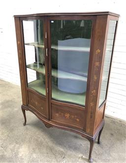 Sale 9142 - Lot 1016 - Edwardian Inlaid Mahogany Serpentine Front Display Cabinet, with two glass panel doors, flanked by floral panels (h:161 w:117 d:46cm)