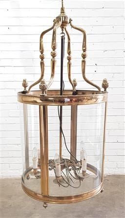 Sale 9142 - Lot 1088 - Large Antique Style Brass Cylindrical Lantern, with convex glass & six arm interior (h:121 dia:55cm)