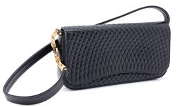 Sale 9149 - Lot 360 - A BLACK VINTAGE BALLY QUILTED LAMBSKIN LEATHER SHOULDER BAG; with gold tone Bs to leather strap, opening to reveal a lined Bally...