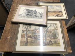 Sale 9155 - Lot 2074 - two early watercolours depicting a Riverside cliff & a coastal scape together with a decorative print -