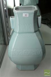 Sale 8285 - Lot 43 - Celadon Glazed Octagonal Shaped Hu Vase
