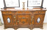 Sale 8341A - Lot 12 - A large and impressive Continental marquetry and brass mounted sideboard, with three frieze drawers over three cupboards with shelve...