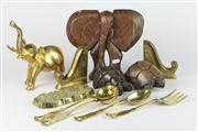 Sale 8448 - Lot 29 - Brass Elephant with Other Wares incl Stone Turtle
