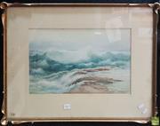 Sale 8595 - Lot 2027 - Samuel Cocks (Working 1890 - 1899) - The Wave, Jervis Bay 26.5 x 44.5cm (frame: 51.5 x 66cm)