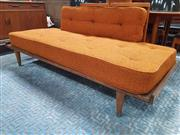 Sale 8839 - Lot 1024 - Vintage Teak Framed Daybed with Burnt Orange Upholstery