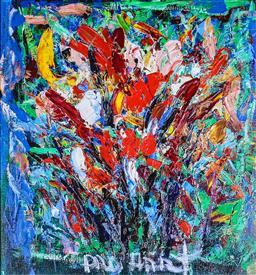 Sale 9143A - Lot 5008 - KEVIN CHARLES (PRO) HART (1928 - 2006) - Bush Wildflowers 44 x 48 cm (frame: 87 x 81 x 4 cm)