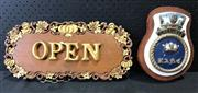 Sale 9026 - Lot 1093 - Ornate Open / Close Sign & Crest (H:20 x W:43cm)
