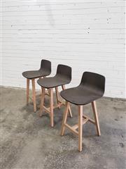 Sale 9059 - Lot 1039 - Set of 3 Modern Timer Barstools (h: 87 x w: 43 x d: 52cm)