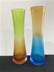 Sale 9092 - Lot 1043 - Matched pair of post modern polychrome wheel cut glass vases, slight chip to one (h:30cm)