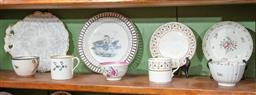 Sale 9120H - Lot 22 - A group of mainly c.18th ceramics including a Liverpool dish with pierced rim, Diameter of dish 20.5cm