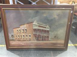 Sale 9147 - Lot 2076 - Peter Lawson Rail Way Hotel, oil on board frame: 72 x 105 signed lower right -