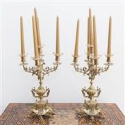 Sale 8341A - Lot 51 - A pair of brass five light candelabra, H 46cm