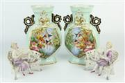 Sale 8403 - Lot 98 - French Porcelain Vases & Pair German Figures on Garden Benches