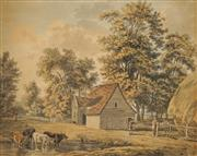Sale 8619 - Lot 2038 - Joseph Farington (1747 - 1821) - Cattles and Village Folk 28 x 35.5cm