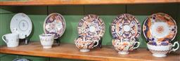Sale 9120H - Lot 23 - A group of early tea cups and saucers including Derby Imari patterns